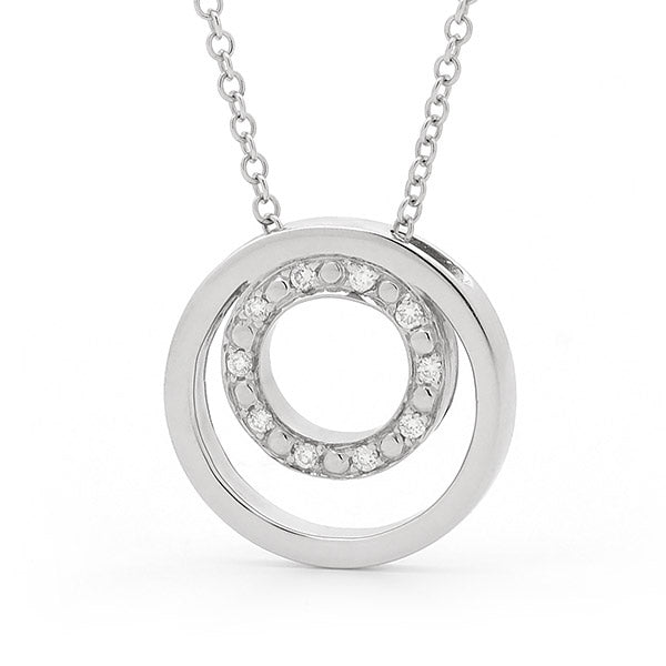 9ct White Gold Double Ring Diamond Pendant