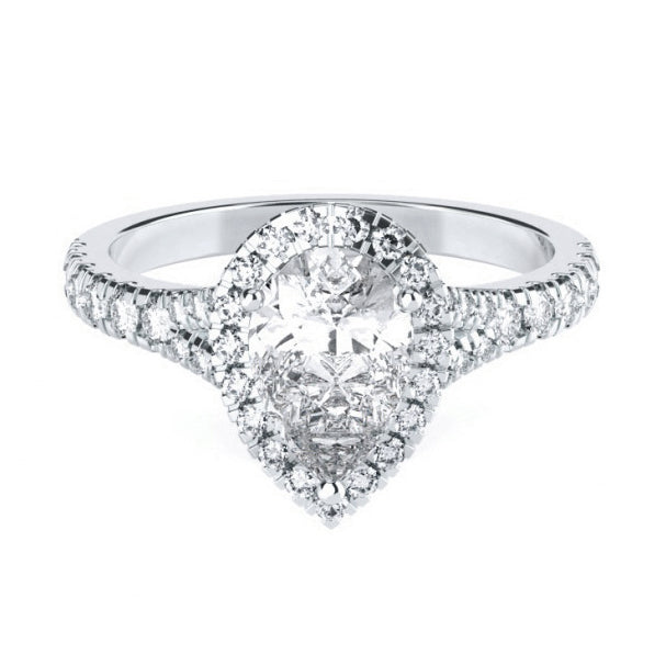 Pear Halo with Diamond Set Split Band