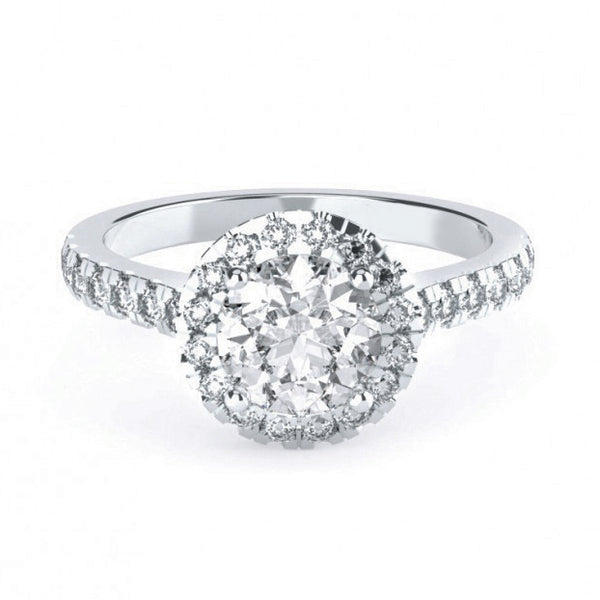 Round Brilliant Halo with Diamond Band