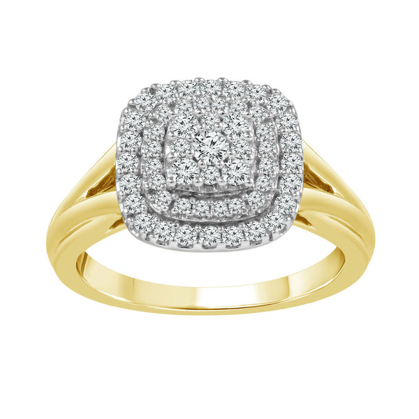 9ct Two-Tone Cluster Ring