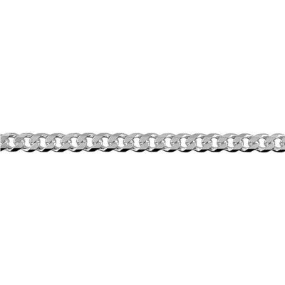 Sterling Silver Bevelled Curb Diamond Cut Chain (BCD100)