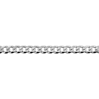 9ct White Gold Bevelled Diamond Cut Curb Chain (BCD120) - 50cm