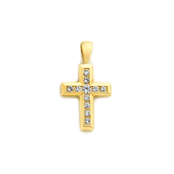 18ct Channel Set Diamond Cross Pendant