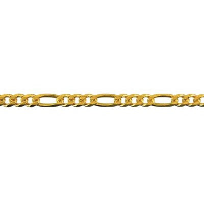 9ct Yellow Gold Bevelled Diamond Cut Figaro Chain (BFD103)