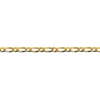 9ct Yellow Gold Bevelled Diamond Cut Figaro Chain (BFD81)