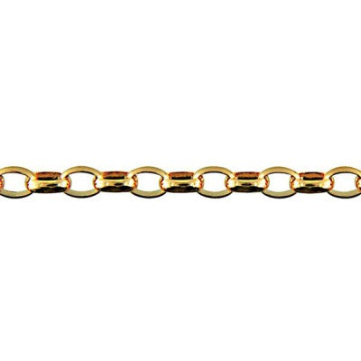 9ct Yellow Gold Oval Belcher Chain (BO3) - 50cm