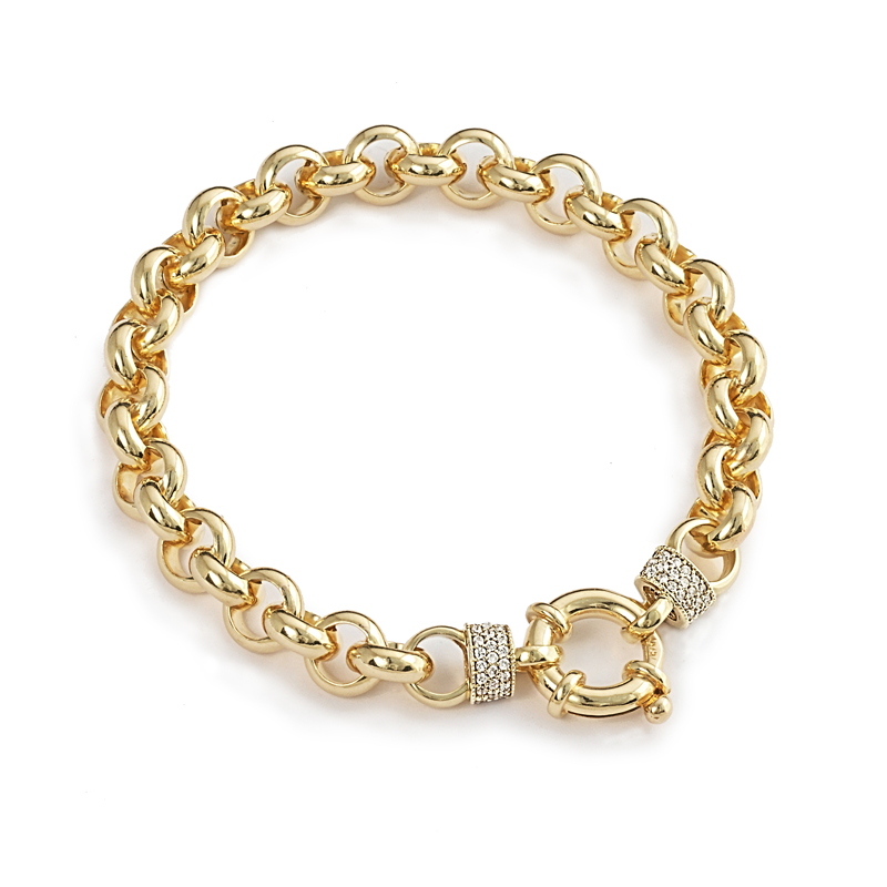 Yellow Gold Silver Filled Bracelet with Stone Cuffs