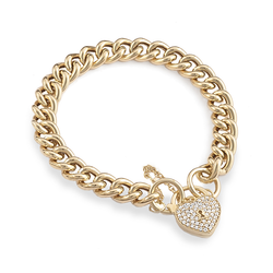 Yellow Gold Silver Filled Bracelet with Heart Locket