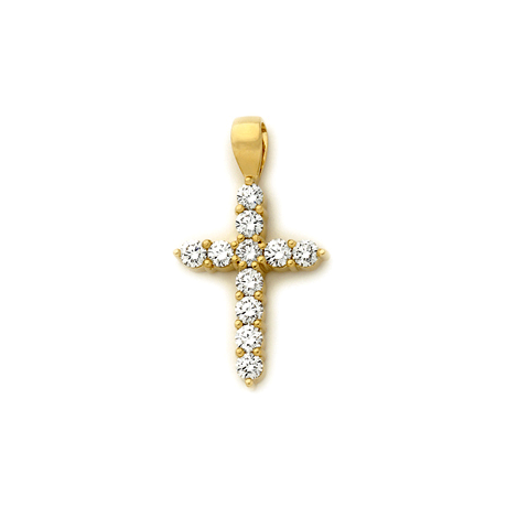 18ct Claw Set Diamond Cross Pendant