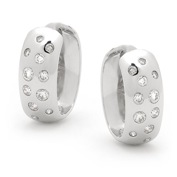 9ct Diamond Huggie Earrings