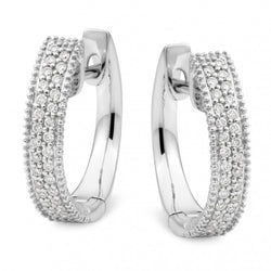 9ct White Gold Pavé Diamond Huggie Earrings