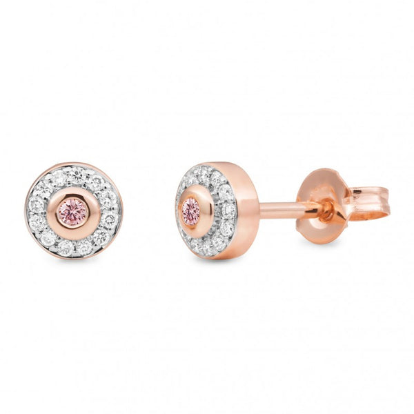 9ct Pink Diamond Halo Earrings