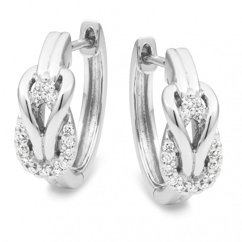 9ct White Gold Diamond Knot Huggie Earrings