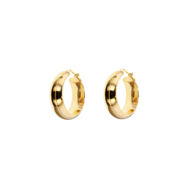 9ct Yellow Gold Thick Hoop Earrings - 15mm