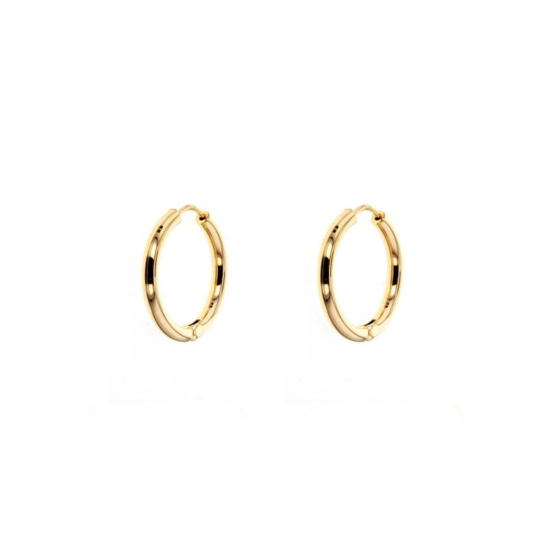 9ct Yellow Gold Huggie Earrings - 15mm