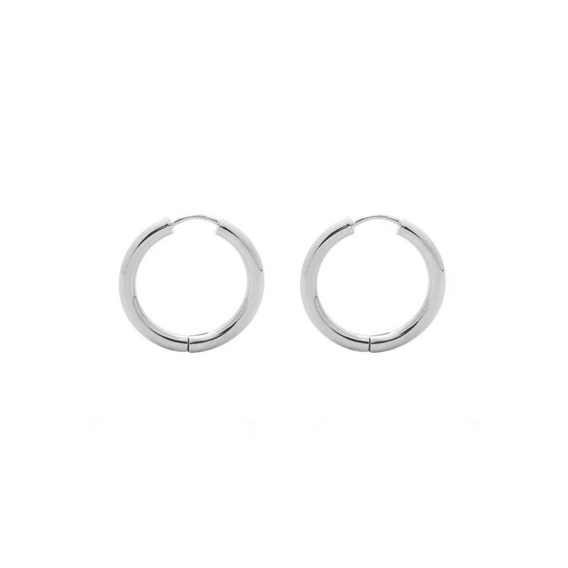 9ct White Gold Huggie Earrings - 15mm