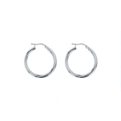 9ct White Gold Plain Hoop Earrings - 20mm