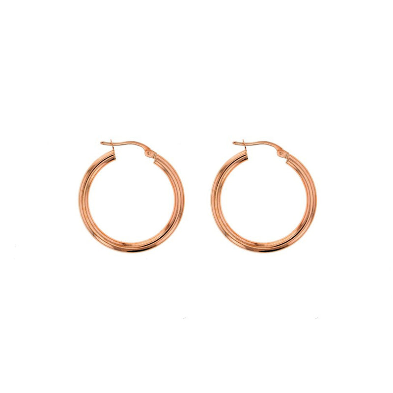 9ct Rose Gold Plain Hoop Earrings - 20mm