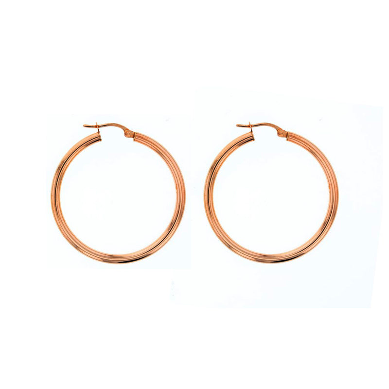 9ct Rose Gold Plain Hoop Earrings - 30mm