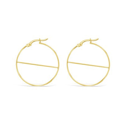 9ct Yellow Gold Hoop Earrings with Diagonal Bar