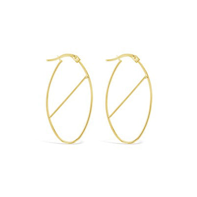 9ct Yellow Gold Oval Hoop Earrings with Diagonal Bar
