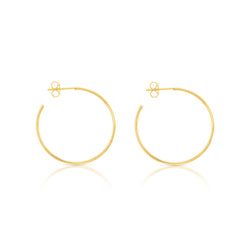 9ct Yellow Gold Flat Hoop Earrings - 30mm