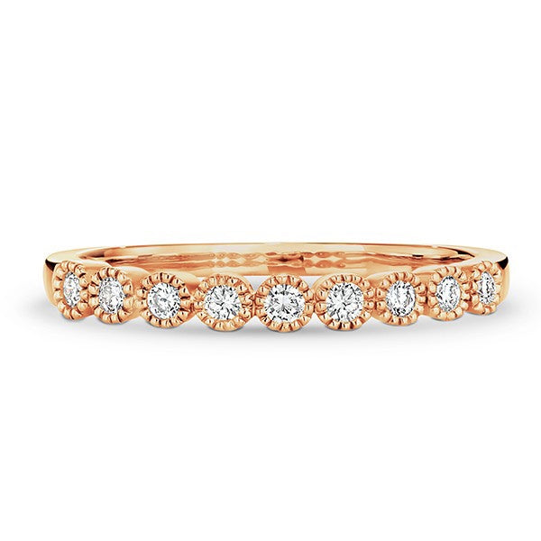 9ct Rose Gold Milgrain Diamond Band