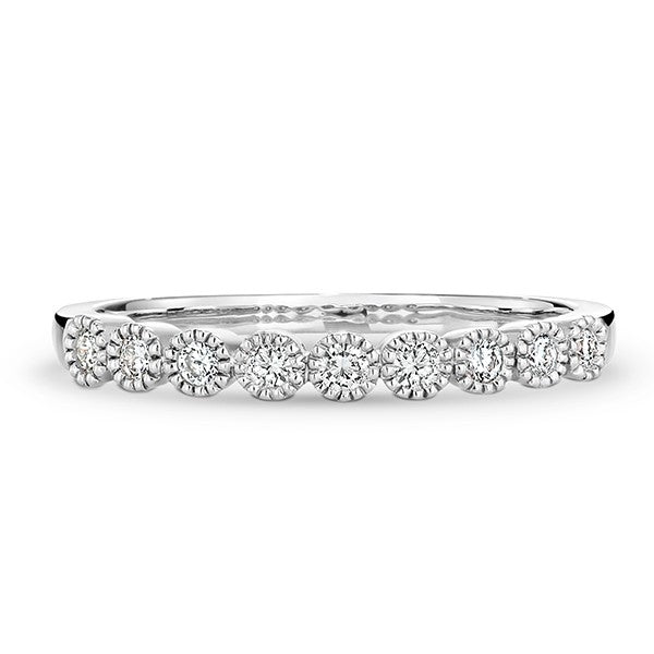 9ct White Gold Milgrain Diamond Band