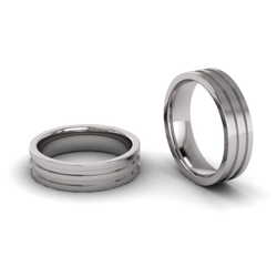 Flat Double Line Engraved Ring