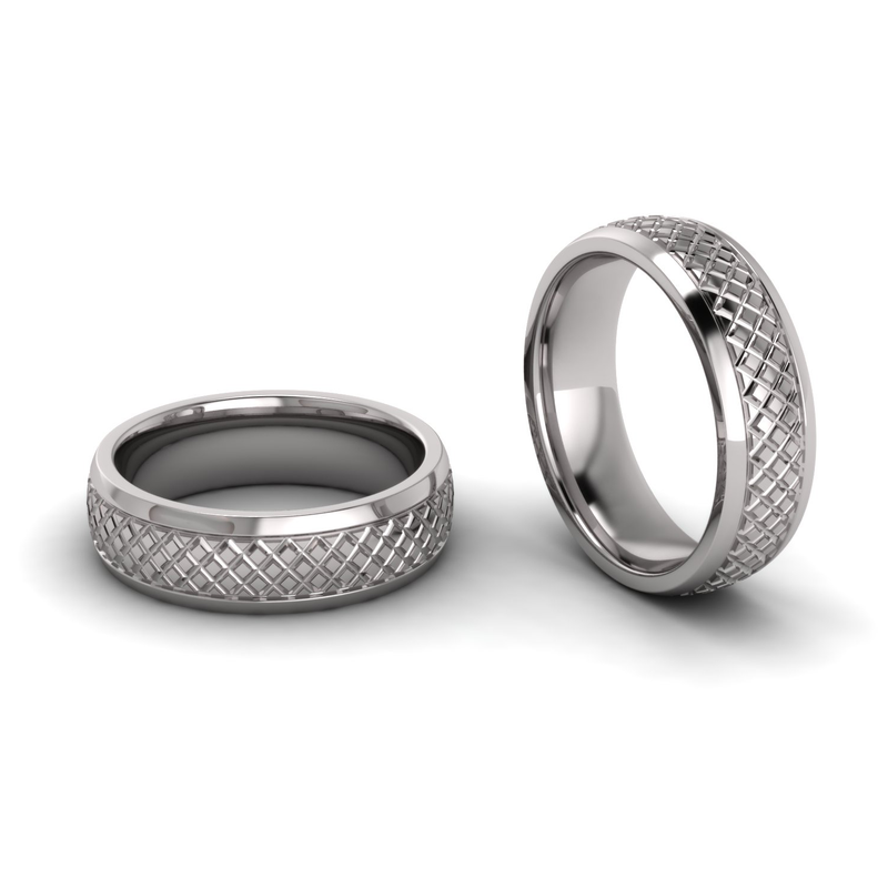 Half Round Lattice Engraved Ring