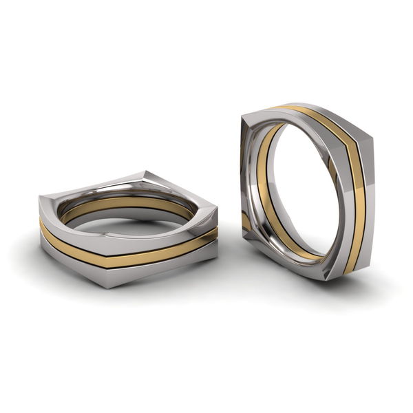 Flat Square Three Section Ring