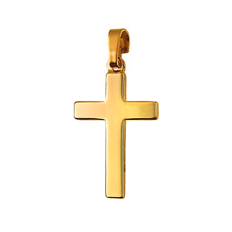 9ct Yellow Gold Flat Plain Cross Pendant