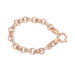 Rose Gold Silver Filled Bracelet with Double Belcher and Stone Links