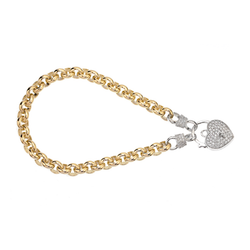 Two-tone Gold Silver Filled Bracelet with Heart Locket