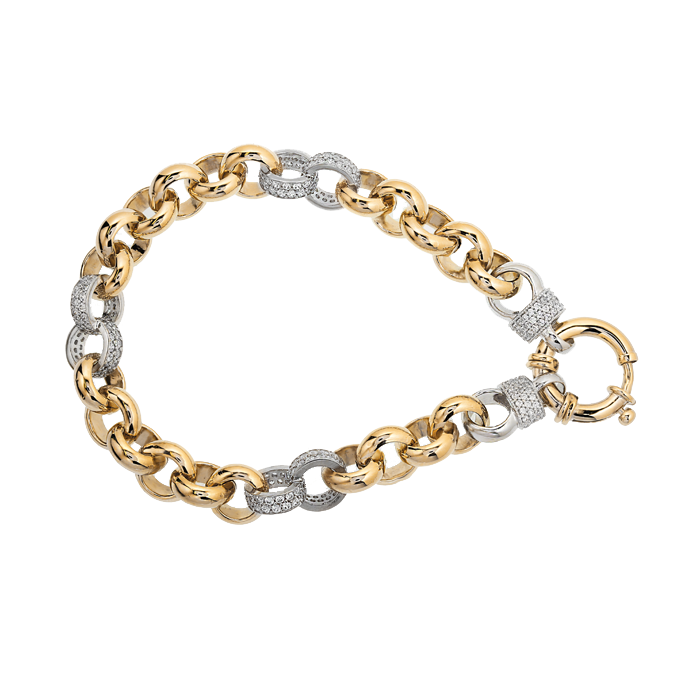 Two-tone Gold Silver Filled Bracelet with Stone Links