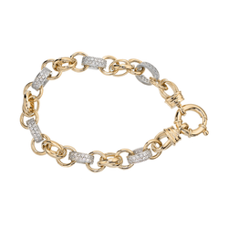 Two-tone Gold Silver Filled Bracelet with Double Belcher and Stone Links