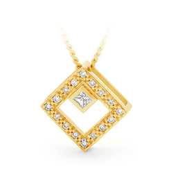 9ct Yellow Gold Square Diamond Pendant