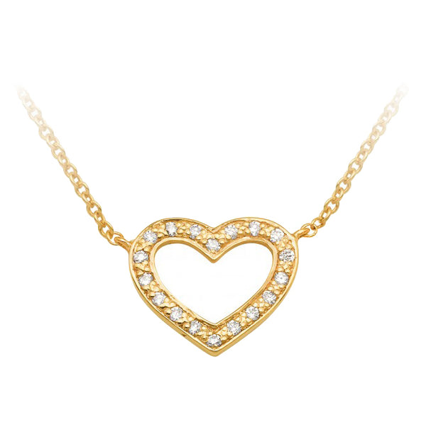 9ct Yellow Gold Diamond Heart Pendant & Chain