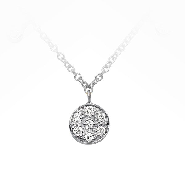 9ct White Gold Diamond Disc Necklace