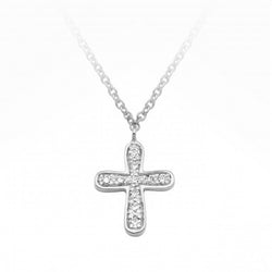 9ct White Gold Diamond Cross Necklace
