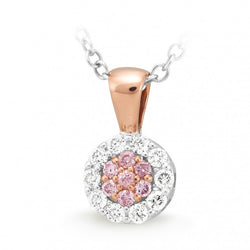 9ct Two-Tone Gold Pink Diamond Cluster Pendant