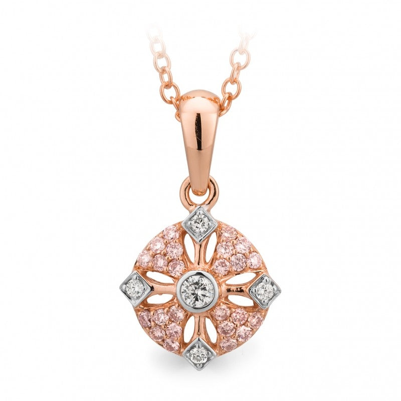 9ct Two-Tone Gold Pink Diamond Pendant