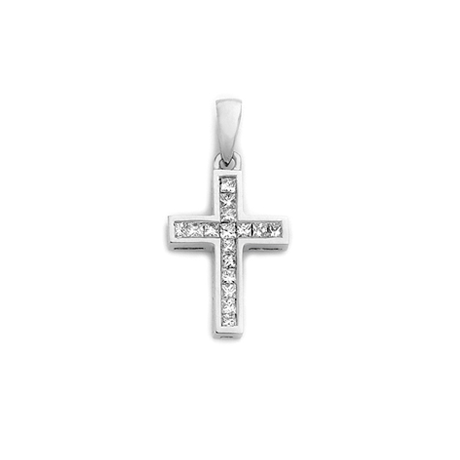 18ct Princess Cut Cross Pendant