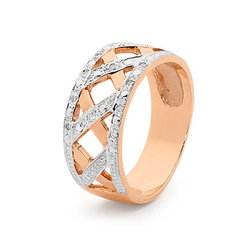 Rose Gold Basket Weave Diamond Band