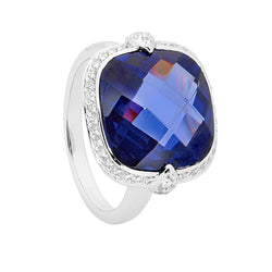 Georgini Manhattan 'Aquamarine' Cushion Cut Ring - 7