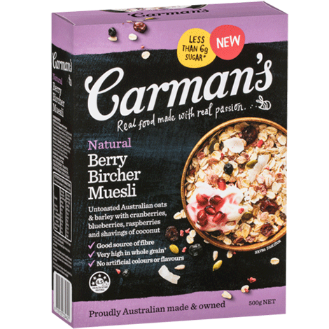 Carman's Natural Berry Bircher Muesli 6x500g
