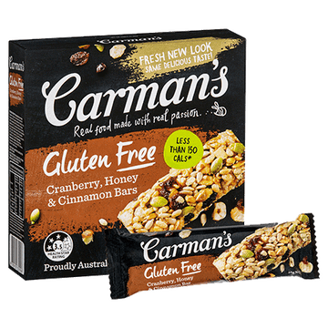 Carman's GF Cranberry, Honey & Cinnamon Bars 6x210g
