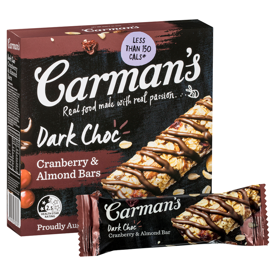 Carman's Dark Choc, Cranberry & Almond Bar - Bellco Group Fine Food Distributers