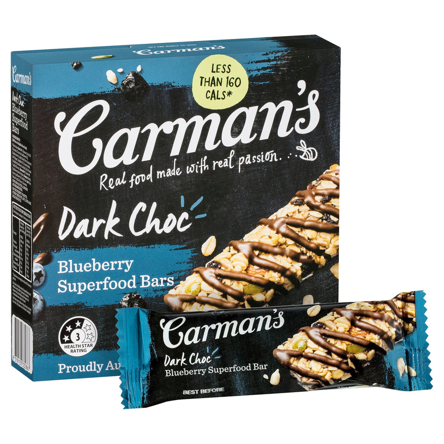 Carman's Dark Choc Blueberry Superfood Bars 6x210g