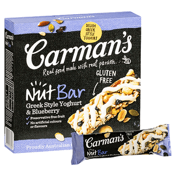 Carman's Greek Style Yoghurt & Blueberry Nut Bars 6x200g